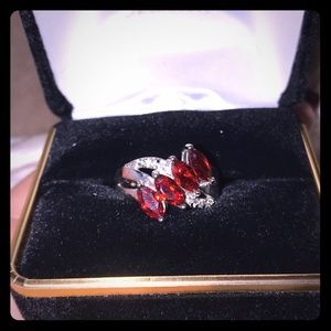 Jewelry - Lab created ruby ring w/ sterling silver band